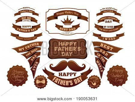 Fathers Day banners set. Different labels and ribbons with inscriptions. Scrapbook elements for design and layout. Fathers Day symbols and attributes in vintage style. Vector illustration