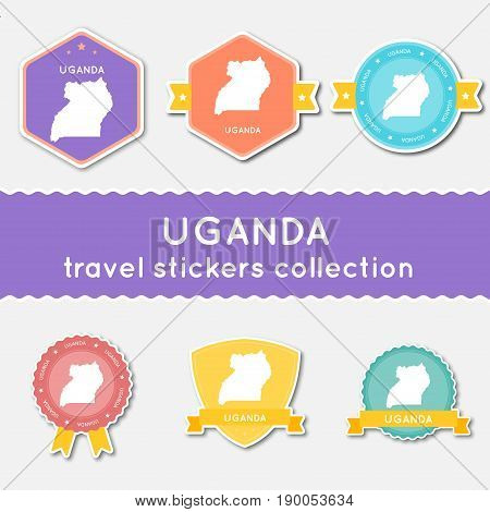 Uganda Travel Stickers Collection. Big Set Of Stickers With Country Map And Name. Flat Material Styl