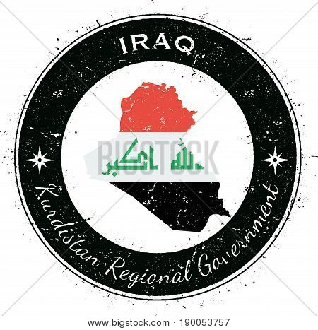 Iraq Circular Patriotic Badge. Grunge Rubber Stamp With National Flag, Map And The Iraq Written Alon