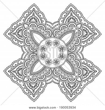 Circular pattern in the form of a mandala. Henna tatoo mandala. Mehndi style. Decorative pattern in oriental style. Coloring book page.