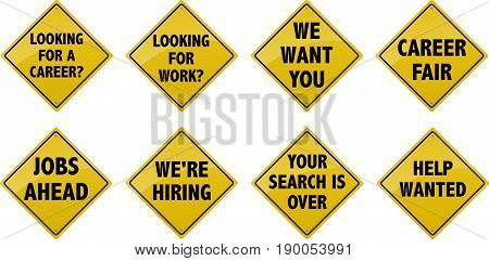Street sign with various saying by companies looking to hire.