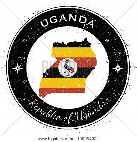 Uganda Circular Patriotic Badge. Grunge Rubber Stamp With National Flag, Map And The Uganda Written