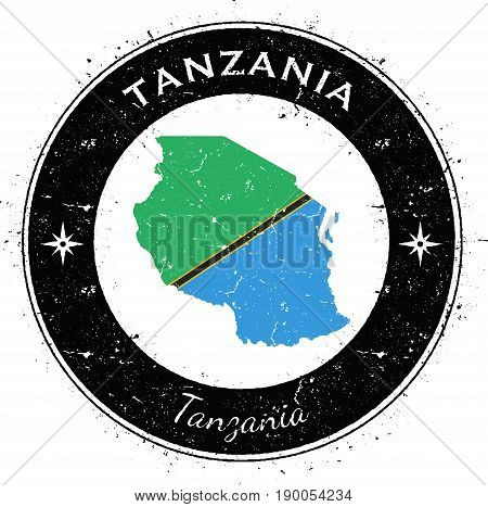Tanzania, United Republic Of Circular Patriotic Badge. Grunge Rubber Stamp With National Flag, Map A