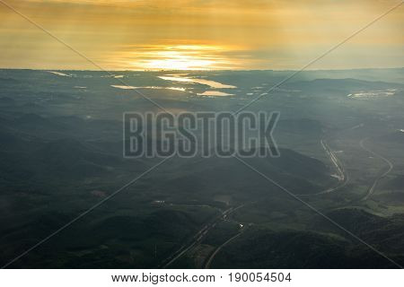 landscape and gols sky sunrise natural view silhouette