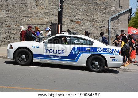 MONTREAL OC CANADA 05 19 2017: Car of Service de police de la Ville de Montreal (SPVM) (French for Montreal Police Service) is the police force for the city of Montreal and the neighboring communities