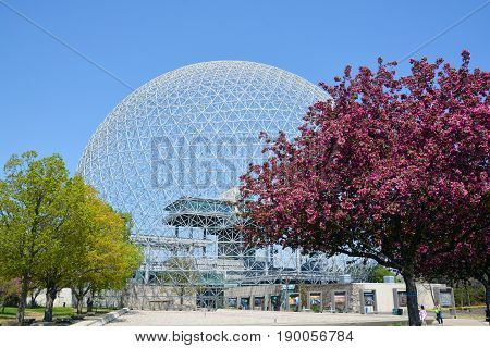 MONTREAL-CANADA 05 19 2017: Biosphere is a museum in Montreal dedicated to the environment. Located at Parc Jean-Drapeau in the former pavilion of the United States for the 1967 World Fair, Expo 67.