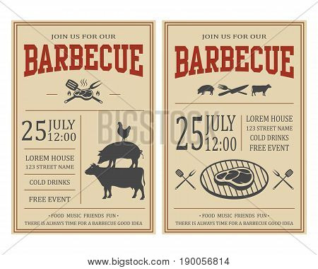 Vintage barbecue party invitation. BBQ, food flyer template. Vector illustration.
