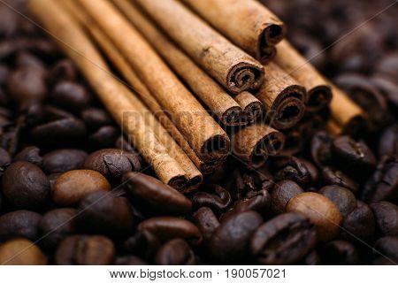 Cinnamon On Coffee Beans Close-up
