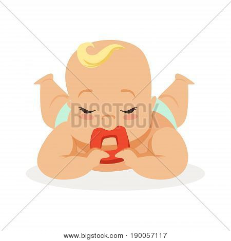 Sweet little baby with closed eyes lying on his stomach teething and chewing teethers, colorful cartoon character vector Illustration isolated on a white background