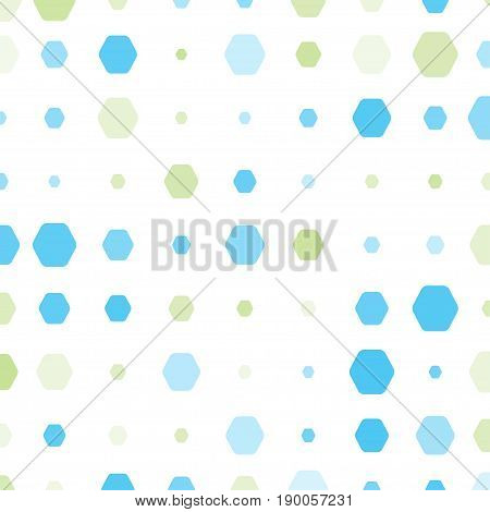 Abstract geometric white background with hexagons of different colors opacity and size.