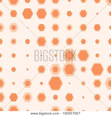 Abstract orange geometric background with hexagons of different colors and size.