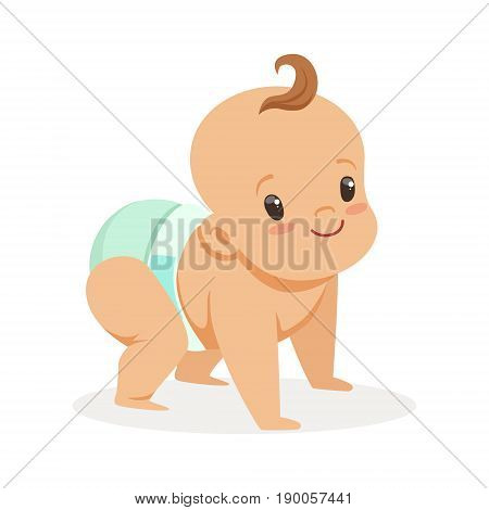 Cute crawling baby in a diaper looking up, colorful cartoon character vector Illustration isolated on a white background