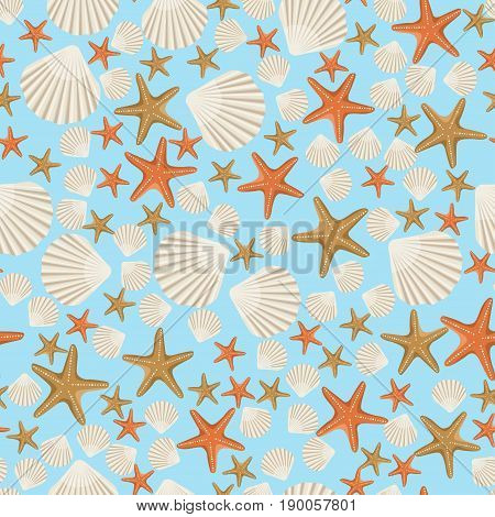 Seamless vector sea pattern. White shells and starfish of different sizes on a blue background. The concept of design for fabric, textile printing, wrapping paper or web
