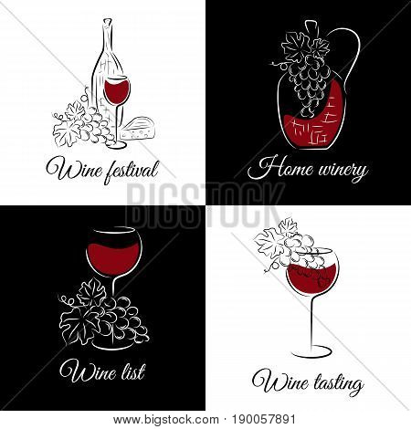 Wine concept for wine list, menu restaurant, logo, emblem, wine tasting bar or winery illustration. Vector set in hand drawn style.