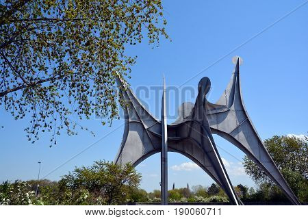 MONTREAL CANADA 05 17 17: The Alexander Calder sculpture L'Homme French for