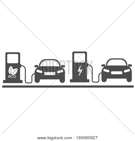 Electric car in refill. Icon vector eco illustration EPS 10