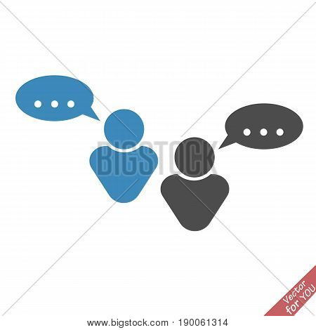 People and talk cloud vector icon. Dialog vector