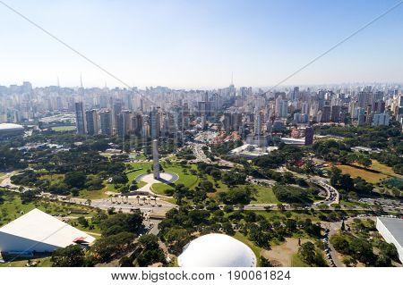 Amazing view of Ibirapuera Park and the 23 de Maio Avenue in Sao Paulo, Brazil