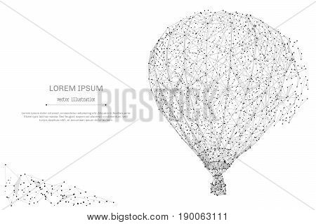 Abstract mash line and point air balloon on white background with an inscription. Balloon starry sky or space, consisting of stars and the universe. Vector illustration