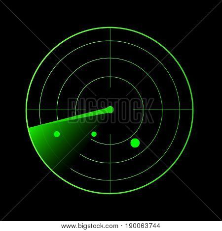 Radar vector illustration. Military search system blip illustration