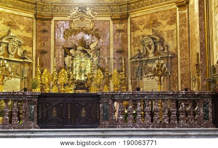 Rome, Italy - April 13, 2017: Interior of the Basilica of St. Mary of the Angels and the Martyrs, built inside the Baths of Diocletian in the 16th century by Michelangelo, in Rome, Italy