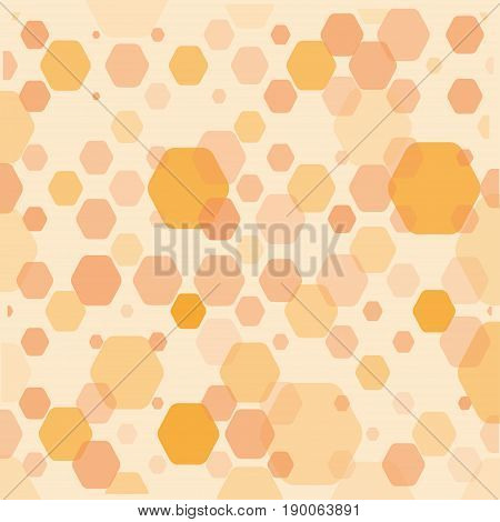 Abstract orange geometric background with hexagons of different opacity and size.