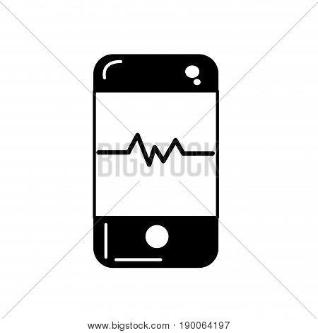contour technology smartphone with cardiac rhythm vector illustration
