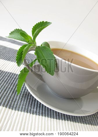 Cup of café au lait with stevia