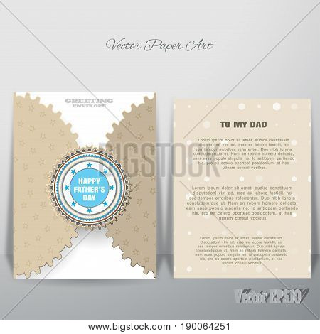 Vector brown greeting paper envelope with blue label and insert which is leaning against the wall.
