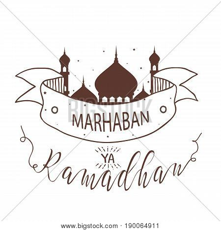 Marhaban ya ramadhan fasting islamic holy mosque line sketch vector