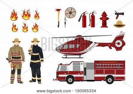 Firefighters and fire fighting equipment on a white background. Helicopter and fireman's car. Icons of flame and items. Vector illustration
