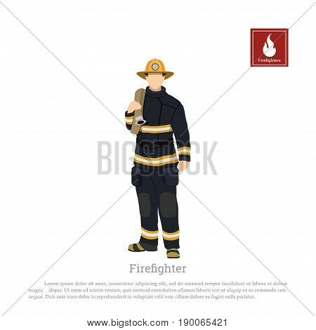 Firefighter with fire hose on white background. Image of a fireman in a flat style. Vector illustration