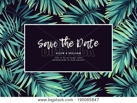 Dark tropical wedding design with exotic plants. Tropical background with green phoenix palm leaves. Vector illustration.