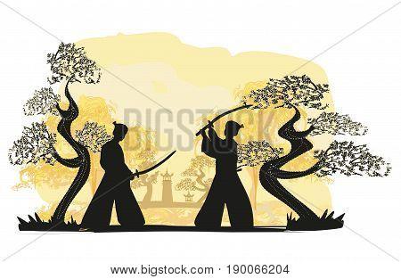 Japanese Samurai fighters silhouette  , vector illustration