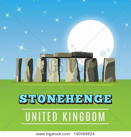 Stonehenge icon isolated on white background. Vector illustration for prehistoric religious landmark architecture. Ancient monument rock. Heritage England UK tourism. Night evening ruin moon poster
