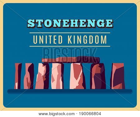 Stonehenge vintage poster. Vector illustration for prehistoric religious landmark architecture. Ancient monument rock. Heritage England UK tourism. United Kingdom concept