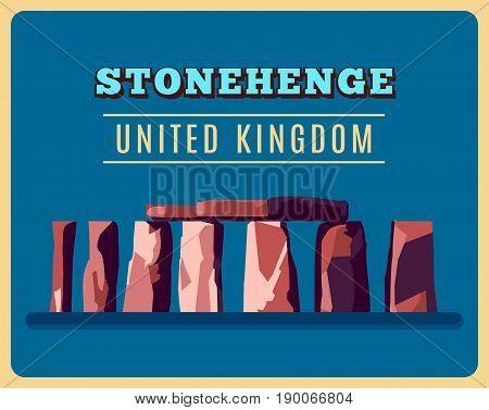 Stonehenge vintage poster. Vector illustration for prehistoric religious landmark architecture. Ancient monument rock. Heritage England UK tourism. United Kingdom concept