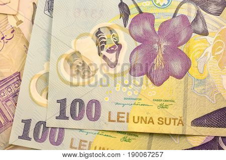 Close up Romanian currency note, LEI or LEU, Romania