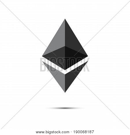 Ethereum. Cryptocurrency Ethereum logo. Cryptography modern money.