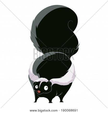 Vector image of the cartoon fat skunk