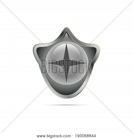 Vector illustration of a gray gradient shield of a rounded shape on a white background with a shadow with glare and a globular emblem with a round glare inside and a dark gray star with four rays.