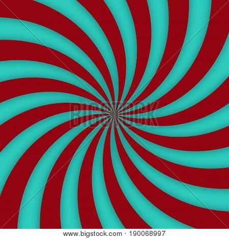 Optical hypnotic turquoise and brown spiral spin vivid design
