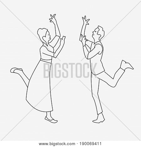 Outline Drawing Of Dancing Couple