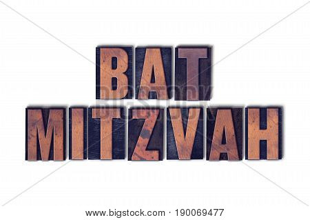 Bat Mitzvah Concept Isolated Letterpress Word
