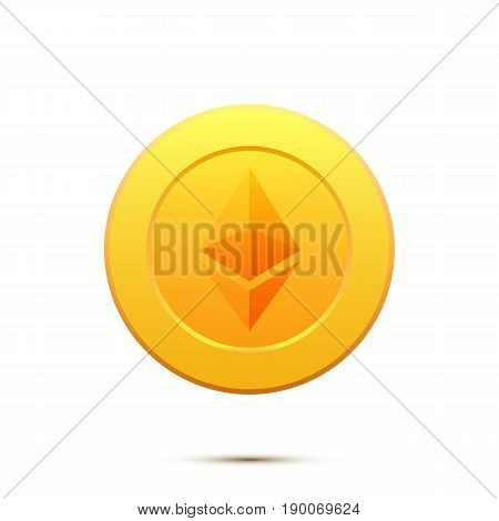 Ethereum. Gold coin with Ethereum symbol. Cryptography currency.