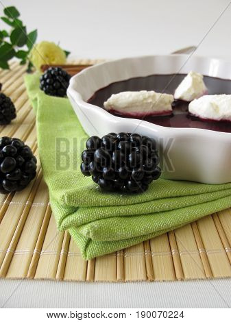 Homemade blackberry soup with curd cams and cinnamon