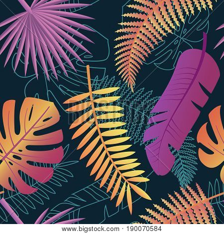 Tropical trendy pattern with exotic leaves. Tropical palm leaves jungle leaves seamless vector floral pattern background. Perfect for wallpapers web page backgrounds surface textures textile.