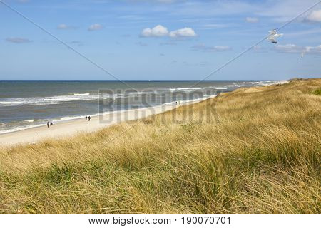People strolling along the beach at Rantum on the North Sea island of Sylt