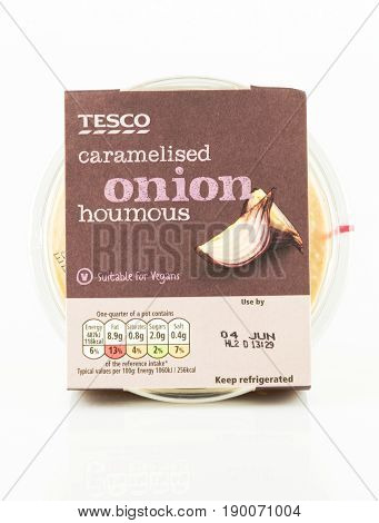 Tub Of Tesco Caramelised Onion Houmous Suitable For Vegans.