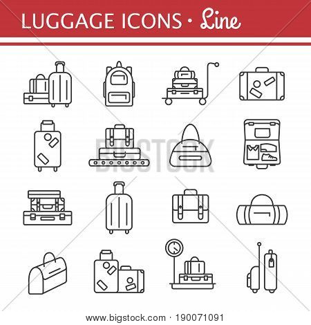 Luggage icon set. Backpack handbag suitcase briefcase messenger bag trolley travel bag. Vector illustration of thin line icons for travel. Abstract isolated illustration.